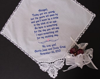 Flower Girl Handkerchief, Today you are young but the year will pass by,Flower Girl Gift, Wedding favor. Personalized wedding Gift, LS0F21