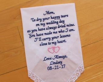 Mother of the Bride Handkerchief-Wedding Hankerchief-EMBROIDERED-CUSTOMIZED-Wedding Gift-Mother of the GROOM-hankies-Mother, LS0F23SV116