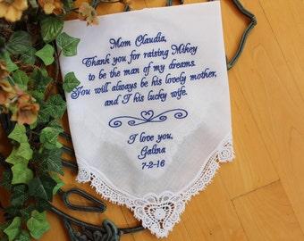 Mother of the Groom gift from bride, Wedding Handkerchief, hanky, custom EMBROIDERED Hanky, heart design, wedding favor, LS0F38
