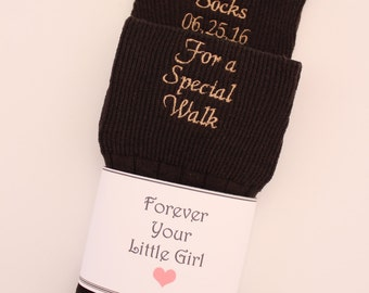 BLACK, BROWN, TAN Father of the Bride Socks, Gift, Special Socks Special Walk, Wedding Date. ,Monogrammed, Forever your little girl. F23LB9