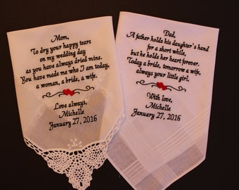 Set of 2 hankies, Parents gift, wedding handkerchiefs,Embroidered Personalized Gift, mom dad Hankies, personalized, monogrammed, LS0MS1F23