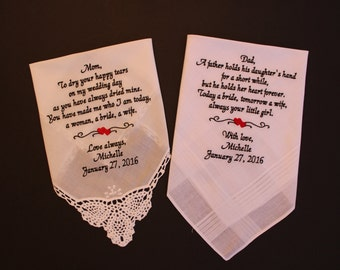 Embroidered Wedding Handkerchief Mother & Father of the Bride PARENTS GIFT, Set of two Wedding Gifts for Mom and Dad, hankerchief,LS0MS1F23