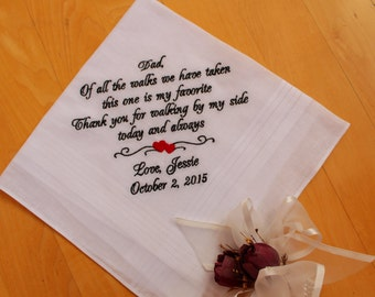 wedding hanky, Dad of all the walks we have taken -Dad Handkerchief. Thoughtful Father of the Bride Gift. Wedding Gift, MS2F38