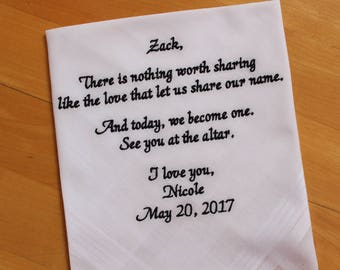 Groom wedding gift from the Bride-Wedding Handkerchief-EMBROIDERED-Wedding Hankerchief-Wedding Gift for groom-Bride Gift to Husband,F23