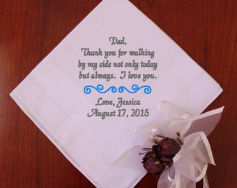 Father of the Bride wedding handkerchief, Thank you for walking, father of the bride gift , Dad Handkerchief, swirl, Wedding, MS1F23SV112