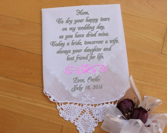 Mother of the Bride Hankerchief, Embroidered Personalized Wedding Gift Wedding Hanky for Mom Mother Weddings LSx