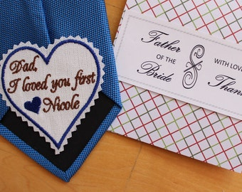 Dad I loved you first wedding heart Tie Patch and gift box, tie label. Beautiful Monogrammed Tie Patches. Father of the Bride Gift. F38