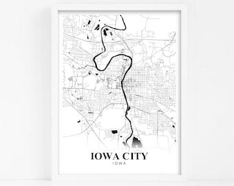 Iowa city map   Etsy