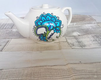SALE, CLEARANCE, Hand painted tea pot, Ooak teapot, turquoise teapot, tea lovers , original teapot, blue floral teapot, 2 cup teapot, teapot