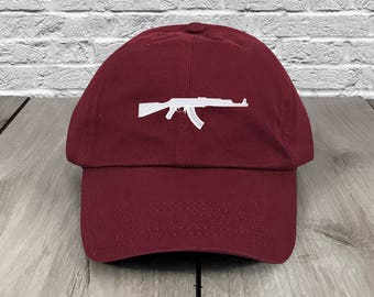 fd5b7bdf1fb AK-47 AK Dad Hat Maroon Embroidered Curved Bill Baseball Cap Dad Hats Low  Profile Trendy Hat Dad Cap Unconstructed