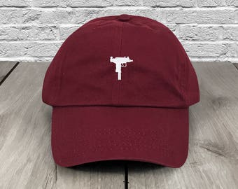 4ab7c72c7f8 UZI Gun Dad Hat Maroon Embroidered Curved Bill Baseball Cap Dad Hats Low  Profile Trendy Hat Dad Cap Unconstructed