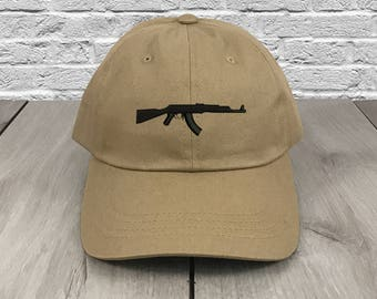 f170fa93737 AK-47 AK Dad Hat Khaki Embroidered Curved Bill Baseball Cap Dad Hats Low  Profile Trendy Hat Dad Cap Unconstructed