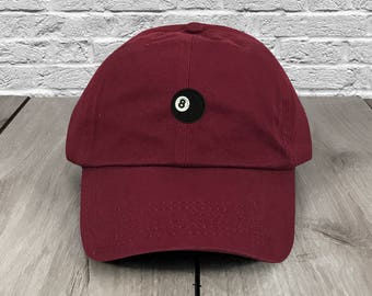 8 Ball Dad Hat Maroon Embroidered Curved Bill Baseball Cap Dad Hats Low  Profile Trendy Hat Dad Cap Unconstructed d5bb1ac1cce6