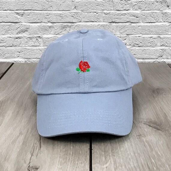 Rose Dad Hat Baby Blue Flexfit Yupoong Vintage Strapback Hat  d6203ffb6f5