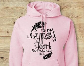 Gypsy Heart Hoodie, Boho Chic Hoodie, Gypsy Soul, Gypsy Boho Hoodie, Boho Feather Top, Boho Feather Print, Pink Feather Hoodie, Gypsy Hoodie