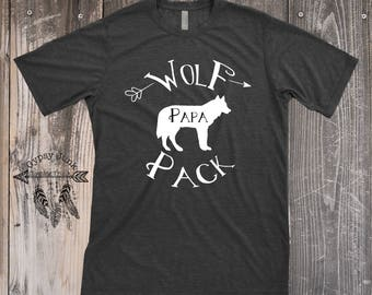 Wolf Pack Shirt, Papa Wolf, Daddy Wolf, Wolf Shirt, Spirit Animal Shirt, Wolf Shirt, Customizable Shirt, Daddy and Me, Wolf Pack Top