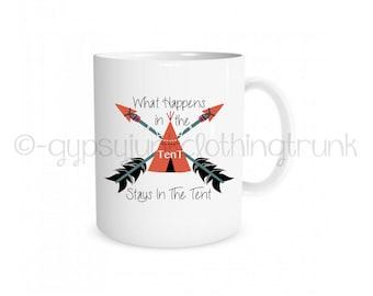 Camping Mug - Tenting Mug - Arrow Print Mug - Arrow Coffee Cup - Camping Coffee Cup - Hippie Coffee Cup - Tent Coffee Mug - Coffee Mug