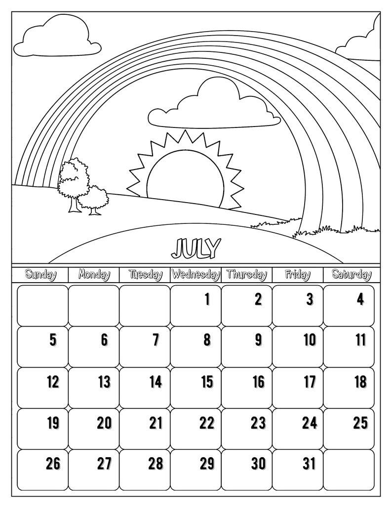 Printable Coloring Calendar 12 Month Calendar 2021 Desktop ...