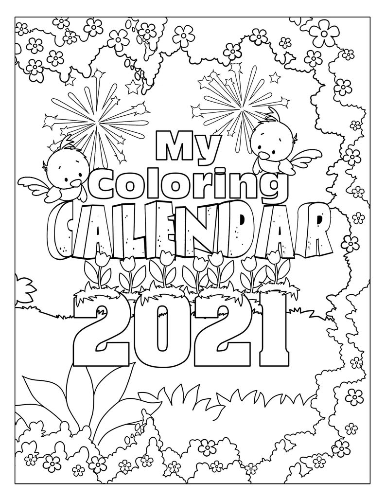 Printable Coloring Calendar 12 Month Calendar 2021 Desktop ...