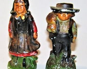 Cast Iron Amish Man And Woman Salt And Pepper Shakers