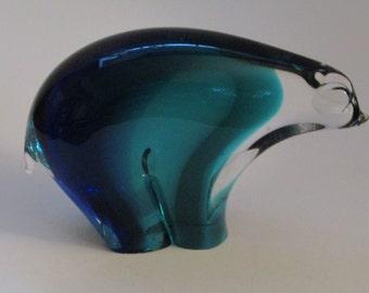 83b528e2e10 Scandinavian Cobalt Teal Blue Glass Polar Bear Figure-1950