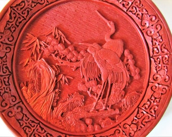 Antique Chinese Cinnabar Charger