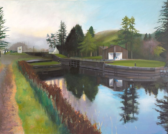 Original oil on deep edge linen -  Laggan Locks Caledonian Canal