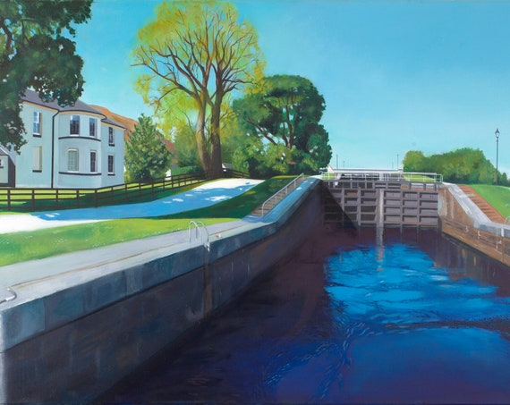 Original oil on deep edge linen -Thomas Telford's house Caledonian Canal