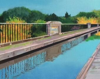 Original oil on deep edge canvas - Avon Aqueduct Linlithgow