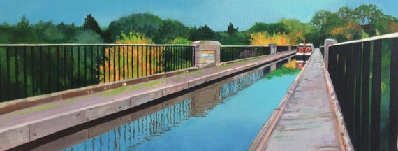Original oil on deep edge canvas - Avon Aqueduct Linlithgow