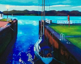 Giclee Print Crinan Canal  Sealock Night