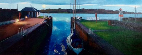Original oil on deep edge linen - Crinan Sealock at Night
