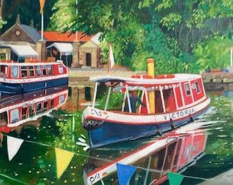 Original oil on deep edge canvas- Canal Fun Day