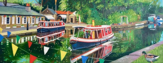 Original oil on deep edge canvas- Canal Fun Day