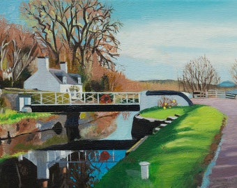 Giclee Print Crinan Canal Puddlers Cottage wall art