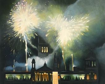giclee Print  Fireworks green and gold  Wall Art firework display