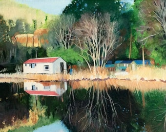 Giclee Print Crinan Canal  Red Roof Reflections Wall Art