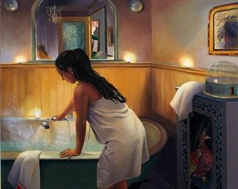 Giclee Print of Female Figure in Bathroom wall art