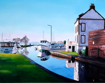 Original oil on deep edge  linen - Forth and Clyde Canal at Bowling
