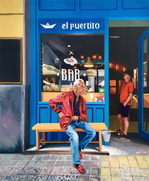Original oil on linen. EL Puertito Bilbao