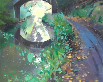 Giclee Print Canal and Bridge wall art