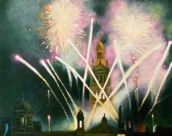 Giclee Print on  Hahnemuhle paper Fireworks Crimson and Gold Wall Art