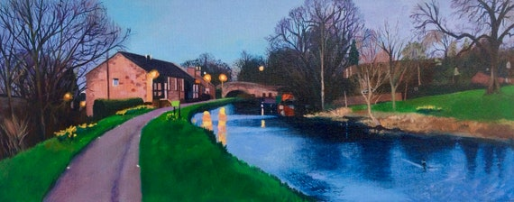 Original oil on deep edge  canvas - Twilight Walk Linlithgow