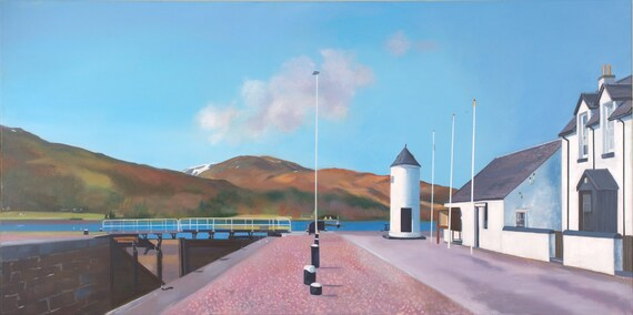 Original oil on deep edge linen - Corpach Cloud Caledonian Canal
