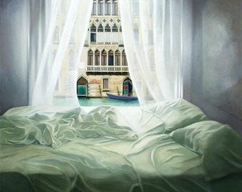 Giclee Print of Venice Palazzo/Bedroom Italy wall art