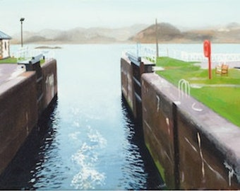 Giclee Print Crinan Canal Sealock wall art