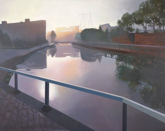 Giclee Print of the Canal in Glasgow Scotland wall art