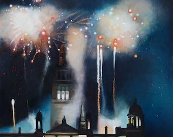 Giclee print fireworks blue and orange wall art
