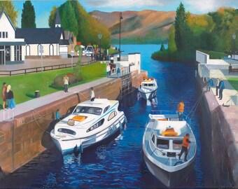 Original oil on deep edge linen - Fort Augustus Caledonian Canal