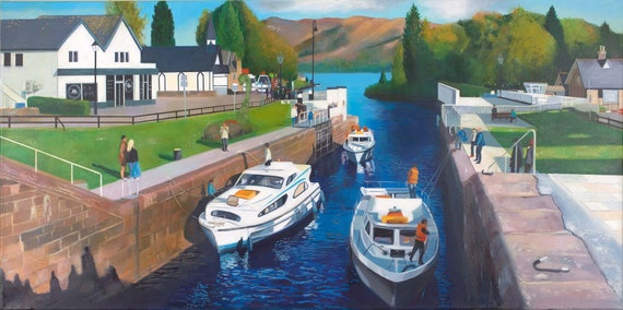 Original oil on deep edge linen - Fort Augustus Caledonian Canal